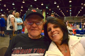 Pops & Me. Cheering on our girl at a recent volleyball tournament.