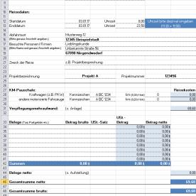 Vorlage Reisekostenabrechnung - Deckblatt