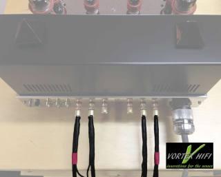 Vortex HiFi Dual Coax Lautsprecherkabel mit Nano Shield Anschlussbereich.