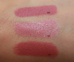 303 Tea Rose lip liner; 103 Powder Pink; 107 Mocaccino
