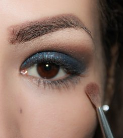4. take glittery eyeshadow and apply in on top of the base eyeshadow and blend it softly together; Brush- Sigma Blending E36, Eyeshadow- UD Naked palette Sidecar eyeshadow