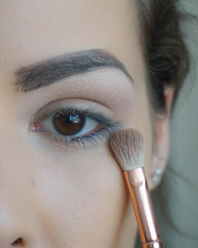 After applying base matte eyeshadow under your brow bone, apply matte base eyeshadow on your crease; Shade- Luster; Brush 227