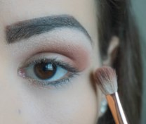 Use matte brown eyeshadow with orange undertone and apply it on your crease to create base; Zoeva 227; 210