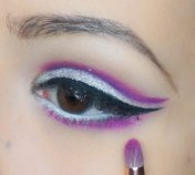 Then apply pinkish purple eyeshadow really close to the lash line and blend; UD Jilted with Z230