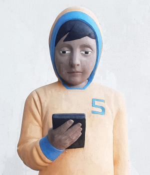 Giovanni da Monreale cemento armato dipinto cm 105x35x30 particolare
