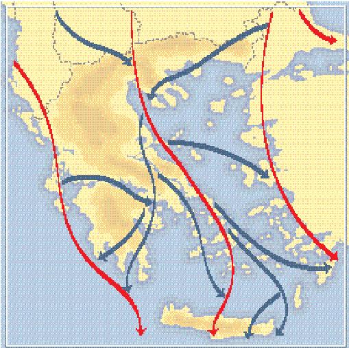 Χάρτης με τους διαδρόμους που ακολουθούν τα αποδημητικά πουλιά πάνω από τον ελλαδικό χώρο. Με κόκκινο σημειώνονται οι τρεις κύριοι διάδρομοι και με μπλε οι δευτερεύοντες (πηγή,: Handrinos,1984).