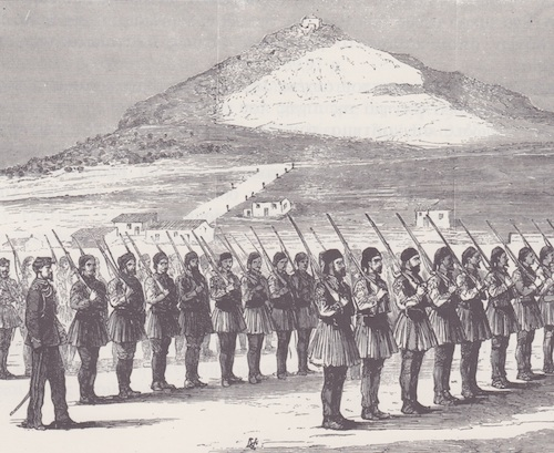 Στρατιωτικό σώμα ασκούμενο κάτωθεν του Λυκαβηττού. Διακρίνονται οι αναδασώσεις των Πευκακίων (από A. Nicolas, Greece 1948-1885)