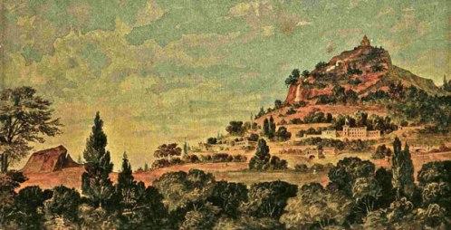 Η διαμόρφωση του τοπίου του Λυκαβηττού, 1886. Ένα από τα ζωγραφικά σχέδια του Τσίλλερ, που τον ήθελε πάρκο «με αναπαυτήρια, σκιάς μετά γεφύρας, υδροτεχνάσματα, εξέδρες, στοές, πανόραμα, δροσιστικά ενδιαιτήματα»