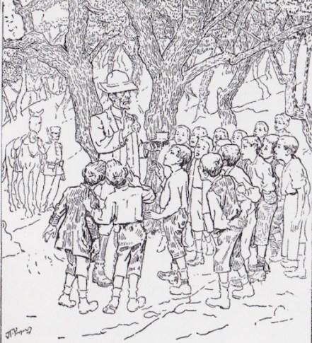 Ο Δασάρχης εξηγεί στα παιδιά τη λειτουργία της φύσης (από την έκδοση των «Ψηλών Βουνών» του 1918, με εικονογράφηση Πέτρου Ρούμπου).