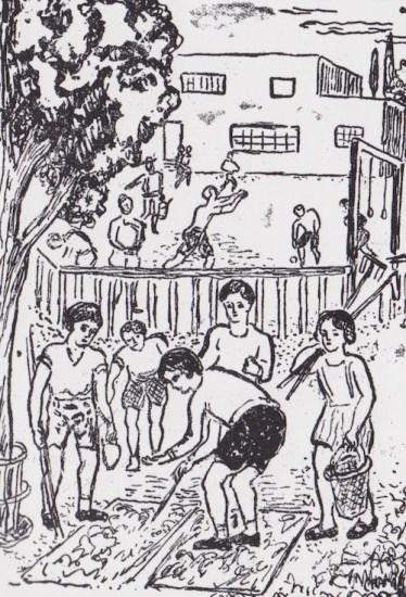 Τα παιδιά εργάζονται στο σχολικό κήπο  (από το αναγνωστικό της β' τάξης του δημοτικού σε εικογράφηση Γεράσιμου Στέρη)