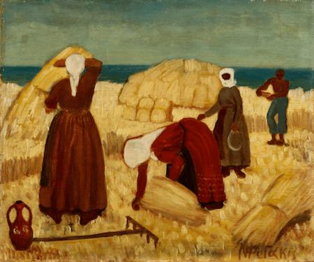 Επένδυε η Ελλάδα στη γεωργία της προπολεμικά, αν και αυτή διατηρούσε ακόμη τον παραδοσιακό της χαρακτήρα («Ο θερισμός», πίνακας του Νίκου Φωτάκη).