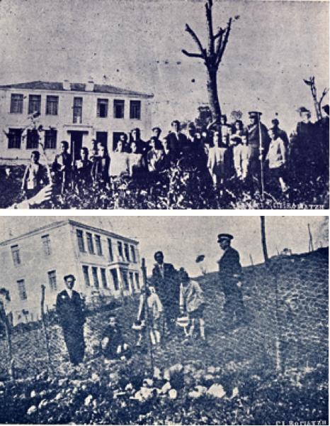 (πάνω) Οι μαθητές του δημοτικού σχολείου Τσοτυλίου, με τους δασκάλους τους και το δασονόμο Τσοτυλίου, φωτογραφίζονται στο σχολικό τους κήπο. (κάτω) Μαθητές του δημοτικού σχολείου Τσοτυλίου φυτεύουν στον περιβάλλοντα χώρο του σχολείου, με την καθοδήγηση των δασκάλων τους και του δασονόμου Τσοτυλίου το 1929 - έχει την αξία της η σημείωση στο πίσω μέρος της δεύτερης φωτογραφίας: «Το σπάνιον νεόδμητον Δημοτικόν Σχολείον Τσοτυλίου, τελευταία λέξις της οικοδομικής»!...