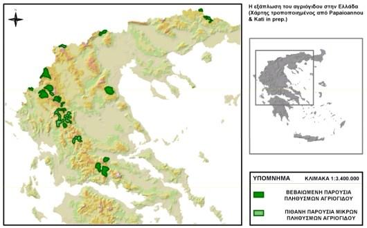 Χάρτης εξάπλωσης των πληθυσμών του αγριόγιδου στην Ελλάδα