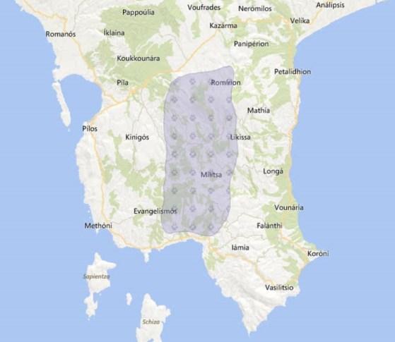 Εξάπλωση Τσακαλιού (χάρτης wwf)