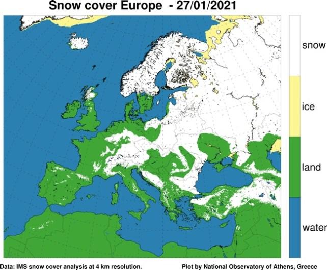 Χάρτης. Δορυφορική εκτίμηση της χιονοκάλυψης στην Ευρώπη, τη Μικρά Ασία και τη Βόρεια Αφρική την Τετάρτη 27 Ιανουαρίου 2021.  Πηγή: meteo.gr -