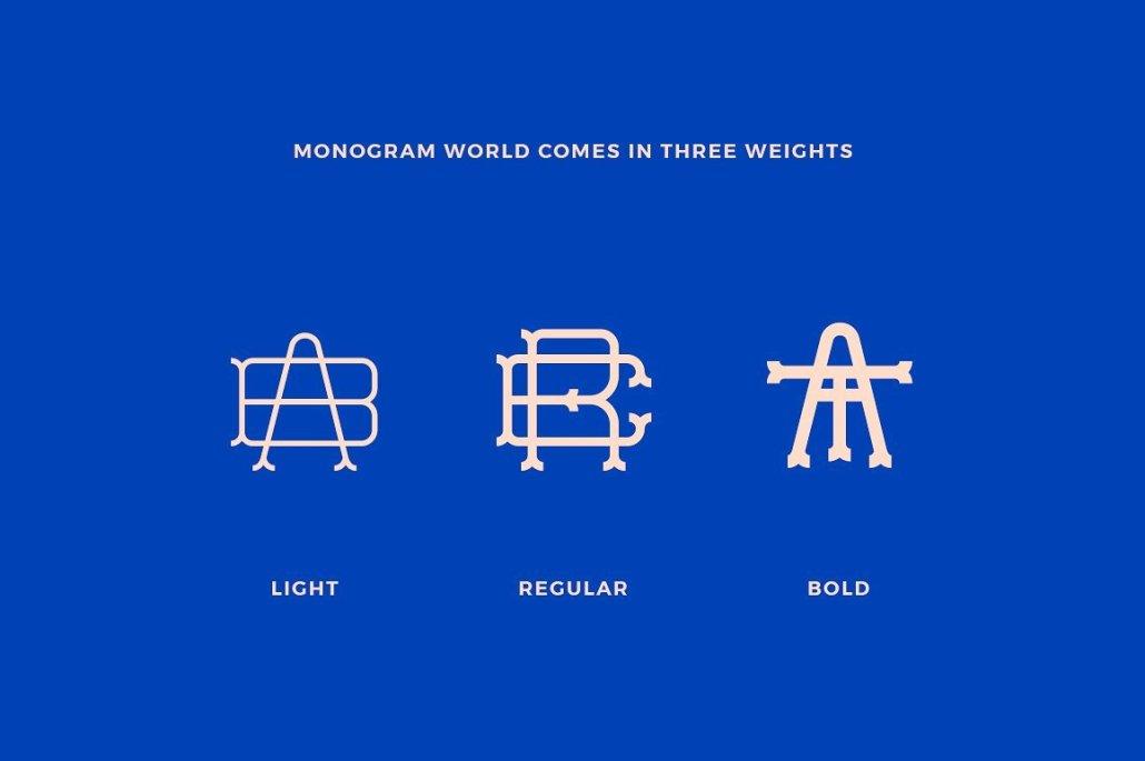 Tipografía descargable para crear monogramas de letras entrelazadas.