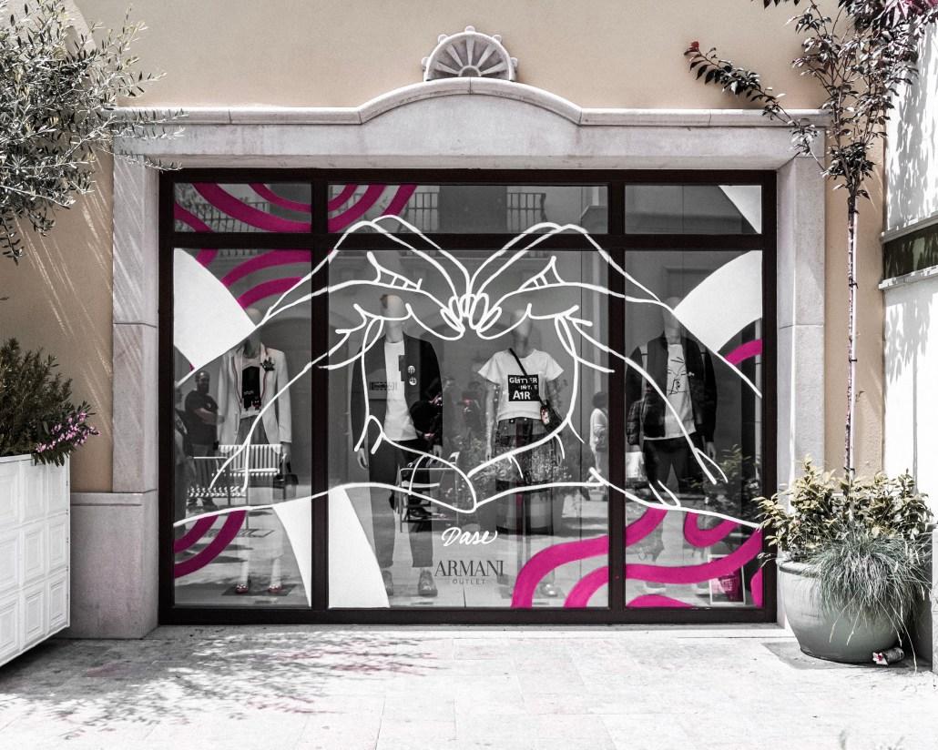 rotulacion decoracion escaparate cristal pintado armani dase