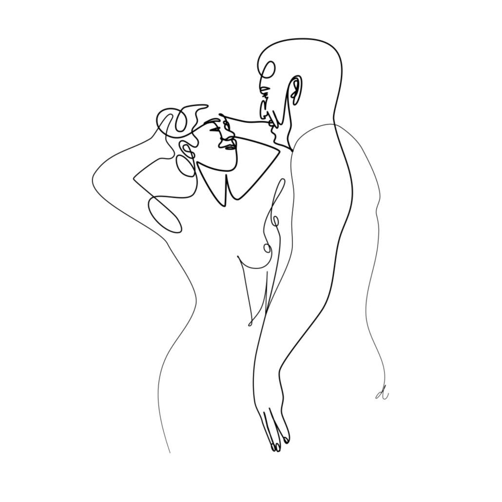ilustracion personalizada pareja boda blanco y negro regalo