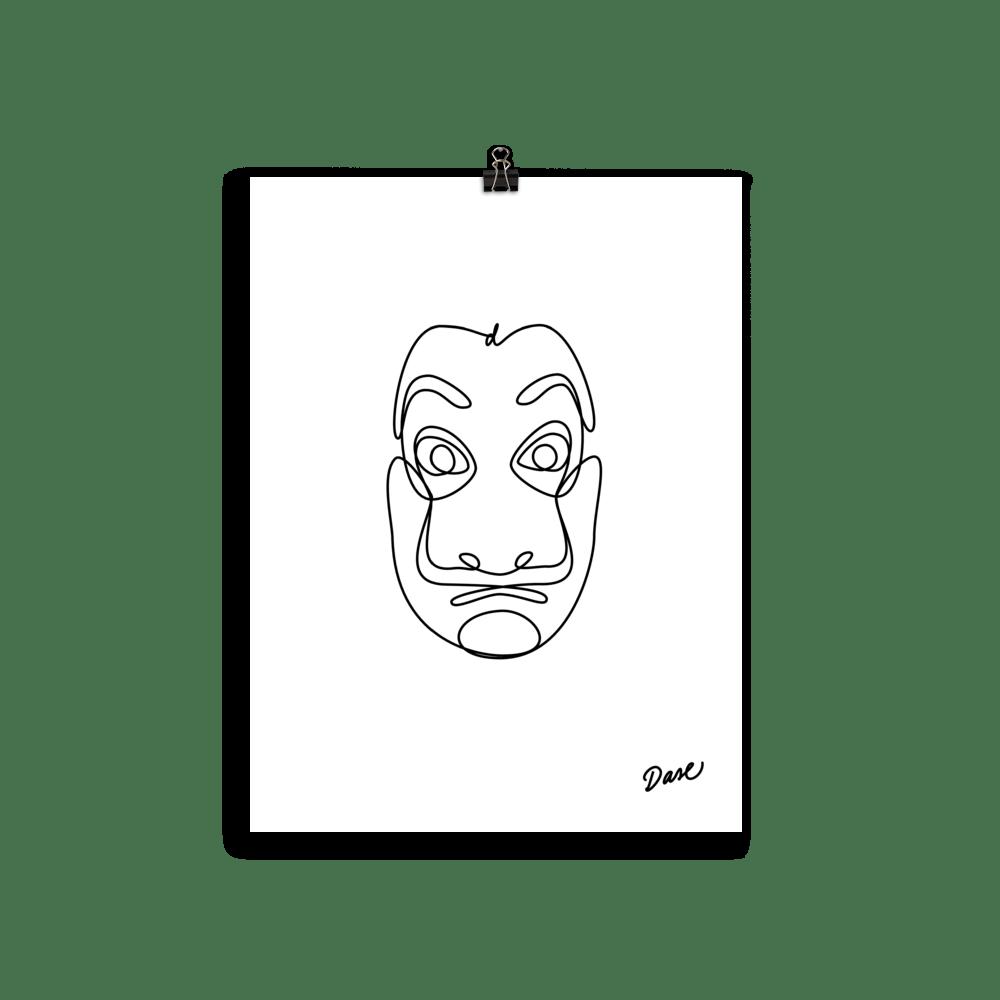 Dibujo de La Máscara de Dalí de La Casa de Papel para descargar e imprimir
