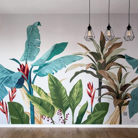 Mural pintado a mano de plantas