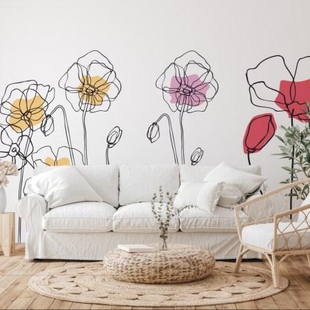 Murales de flores pintados a mano