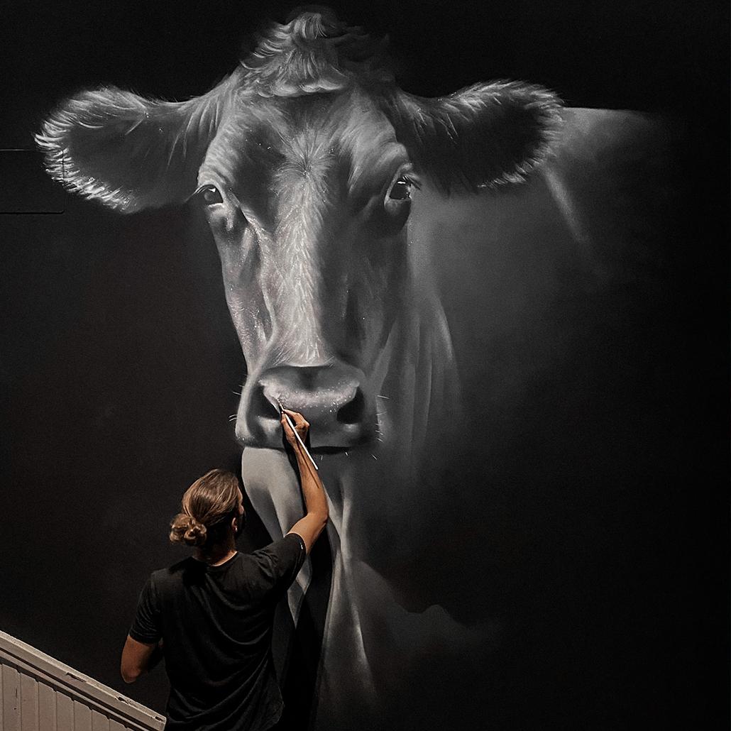 mural realista graffiti pared dase