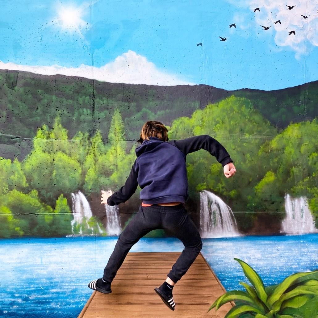 Mural pintado con paisaje de cascadas bosque y vegetación. Graffiti en paredes exteriores de patios terrazas y jardines