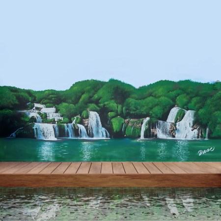 Mural con paisaje de cascadas y lago pintado a mano en pared