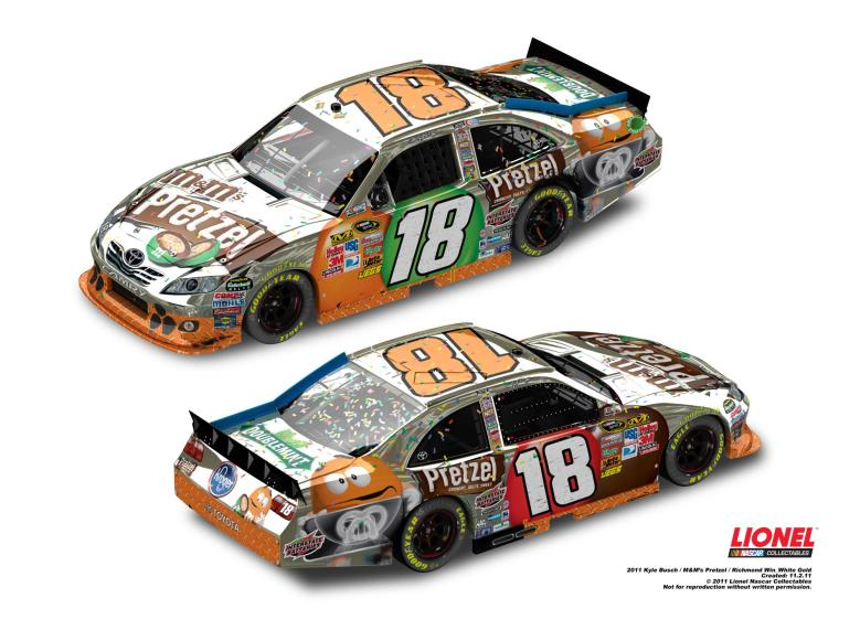 2011 Kyle Busch M&M'S Pretzel Richmond Win White Gold ELITE - - Lionel Garage