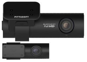 The DR650GW-2CH front and rear cameras in closeup.