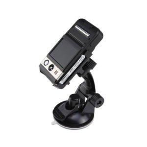 Product photo of the DOD F500LHD dashboard camera with its windscreen mount and bracket