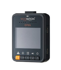 """Product photo of Vico-Opia2 dash cam, as seen from the rear, with its 2"""" LCD display and 5 buttons underneath"""