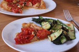 tomato and caramelised garlic tart