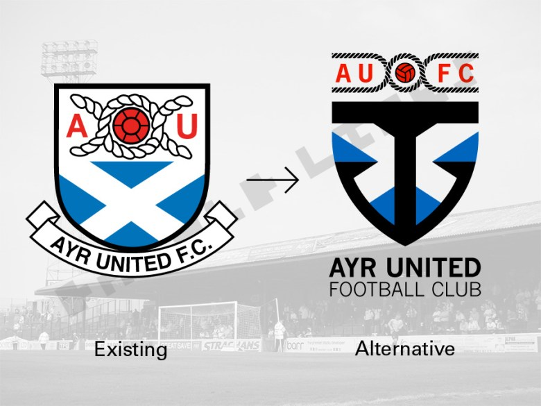 Ayr United badge redesign - old to new badge