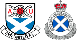 Ayr Utd FC badge comparison with Scottish Ambulance Service logo