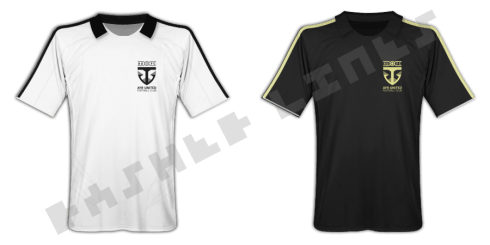 AUFC home and away shirts – new badge