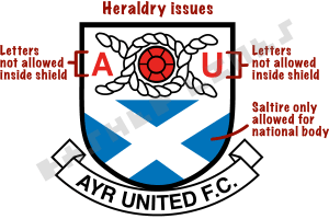 Ayr United badge showing heraldry issues - letters and saltire within shield