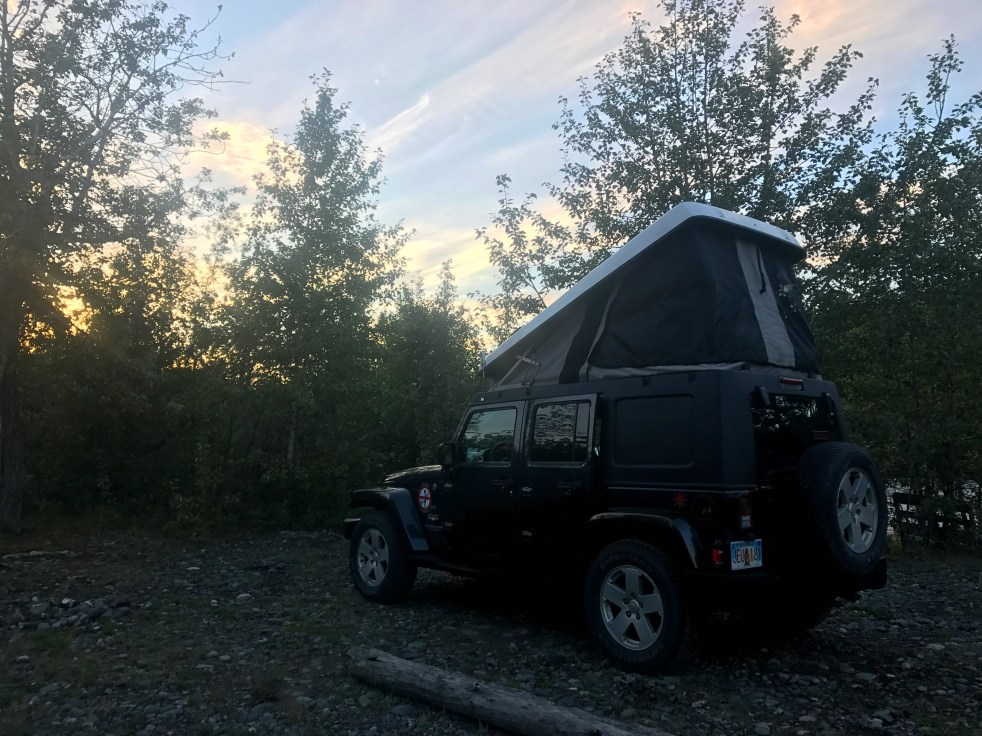 Jeep tent and sunset