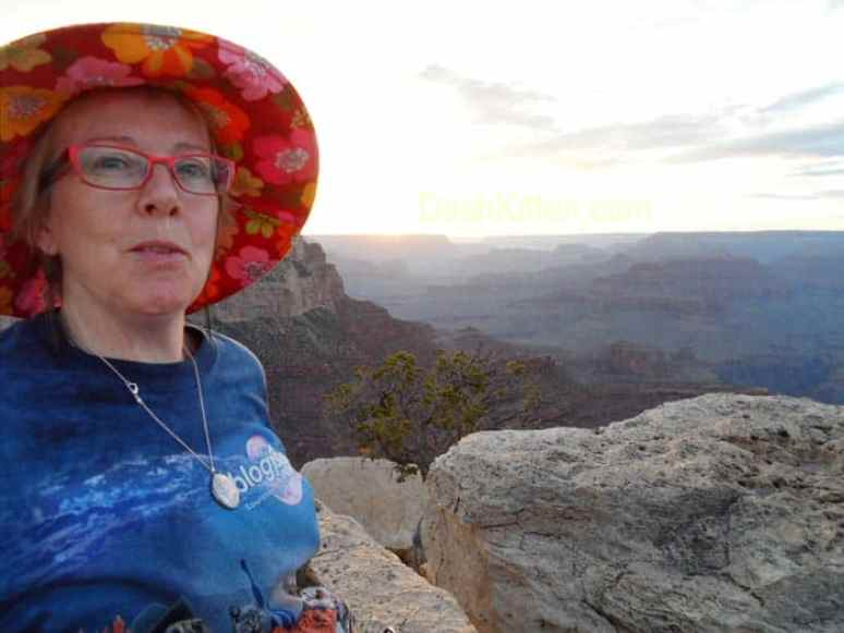 Whskr enjoying the Grand Canyon sunset