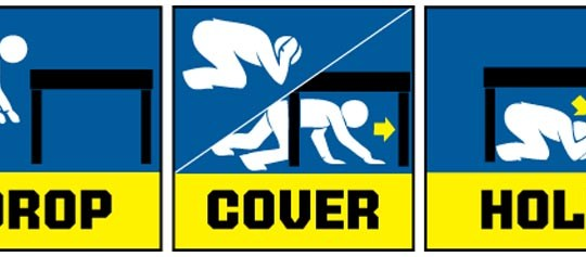 drop cover hold graphic for earthquake drill