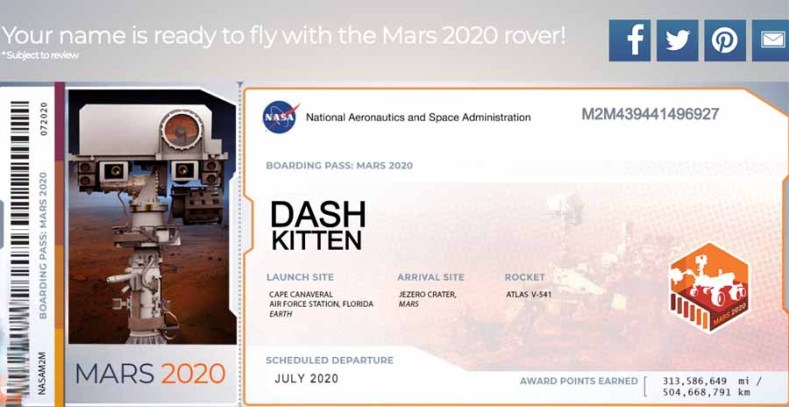 Mars Rover 2020 Boarding Pass for the blog