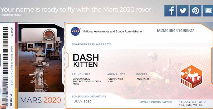 Mars Rover 2020 Boarding Pass