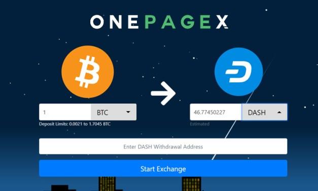 Обменный сервис OnePageX.com добавляет Dash