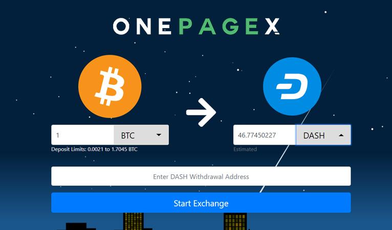 InstantExchange OnePageX.com integriert Dash