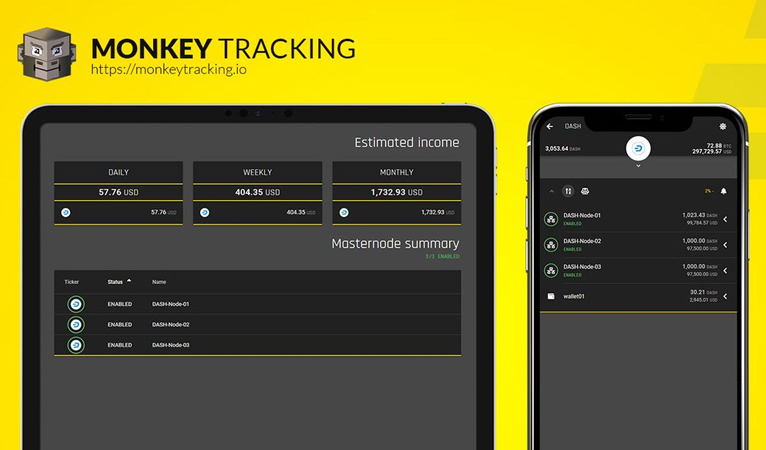 Portfolio Monkey Tracking Application Integrates Dash, Includes Masternode and Network Updates