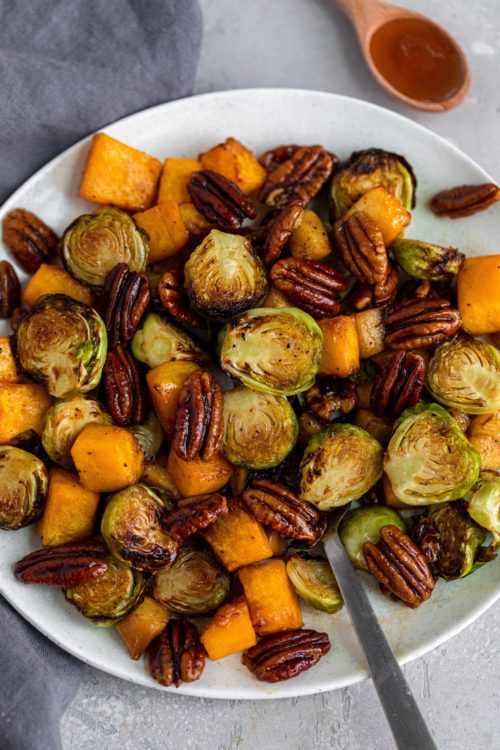 Maple Bourbon Air Fried Brussels Sprouts & Squash