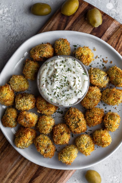 Air Fried Blue Cheese Stuffed Olives