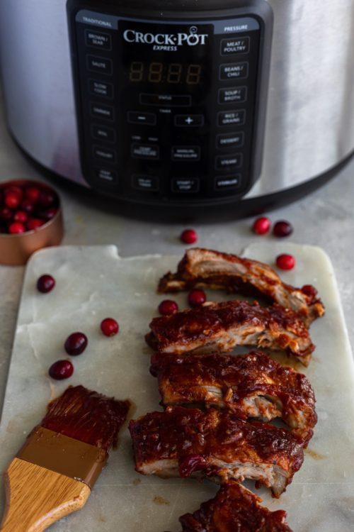 Pressure Cooker Cranberry BBQ Ribs
