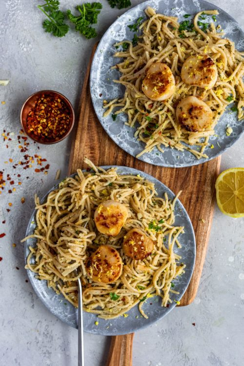 Seared Scallops Over Garlic Pasta - Dash Of Mandi