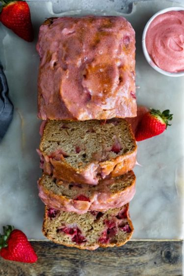 Strawberry Banana Bread With Homemade Frosting